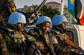FILE - Peacekeepers from Rwanda are seen at the airport in South Sudan's capital Juba, Sept. 2, 2016.