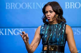 "Michelle Obama speaks about ""mobilizing for children's rights, supporting local leaders and improving girls' education"", Dec. 12, 2014, at the Brookings Institution in Washington."