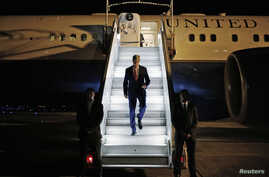 FILE - U.S. Secretary of State John Kerry steps off his plane after arriving in Paris July 26, 2014.