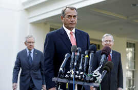 From left: Senate Majority Leader Harry Reid, House Speaker John Boehner and Senate Minority Leader Mitch McConnell outside the White House, Nov. 16, 2012.