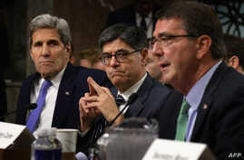 From left, Secretary of State John Kerry, Treasury Secretary Jacob Lew and Defense Secretary Ashton Carter testify before the Senate Armed Services Committee about the Iran nuclear deal on Capitol Hill, July 29, 2015.