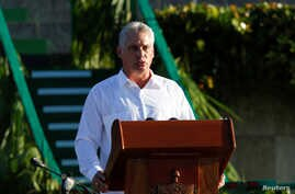 Cuba's First Vice President Miguel Diaz-Canel speaks during a ceremony commemorating the 50th anniversary of the death of the revolutionary Ernesto Che Guevara in Santa Clara, Cuba, Oct. 8, 2017.