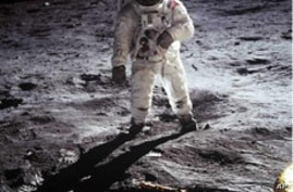 Astronaut Buzz Aldrin walks on the surface of the moon during the Apollo 11 mission in 1969.