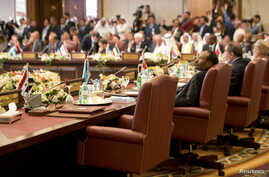 Syria's chair is seen empty at the preparatory meeting of Arab Foreign Ministers in Kuwait City, March 23, 2014.