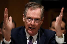"U.S. Trade Representative Robert Lighthizer testifies before a Senate Finance Committee hearing on ""President Trump's 2018 Trade Policy Agenda"" on Capitol Hill in Washington,  March 22, 2018."
