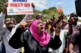 National Super Alliance (NASA) protesters shout slogans as they march to the IEBC, Independent Electoral and Boundaries Commission offices, in Mombasa, Kenya, Oct. 6, 2017.