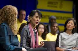 Burma's opposition leader Aung San Suu Kyi  speaks during a town hall meeting hosted by Amnesty International at the Newseum in Washington, D.C., September 20, 2012.