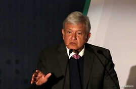 Mexican President-elect Andres Manuel Lopez Obrador talks about his security plan to the media in Mexico City, Nov. 14, 2018.