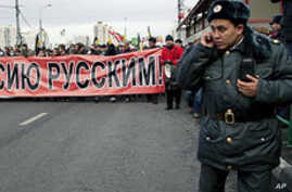 Russian Nationalists March Under Heavy Police Presence