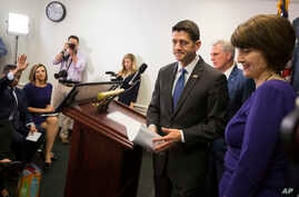House Speaker Paul Ryan of Wis., accompanied by House Majority Leader Kevin McCarthy of Calif., center, and Rep. Cathy McMorris Rodgers, R-Wash., leaves a news conference after a GOP caucus meeting on Capitol Hill in Washington, April 26, 2017.