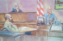 In this courtroom sketch, defense witness Stephen Bennett (R) testifies as Major Nidal Malik Hasan (L) and presiding Judge Col. Tara Osborn look on in court during court-martial of Army psychiatrist Hasan, accused of killing 13 people during the 200