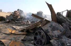 This image made from video shows a radar site after a U.S. airstrike in Hodeida,Yemen on Oct. 13, 2016.