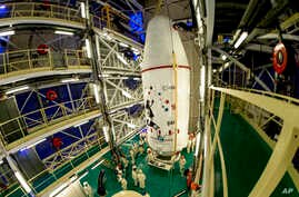 This photo provided by ESA (European Space Agency) shows the Gaia satellite at the Kourou space base, French Guiana, Dec.14, 2013.