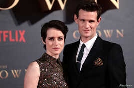 "FILE - Actors Claire Foy, who plays Queen Elizabeth II, and Matt Smith, who plays Philip Duke of Edinburgh, attend the premiere of ""The Crown"" Season 2 in London, Nov. 21, 2017."