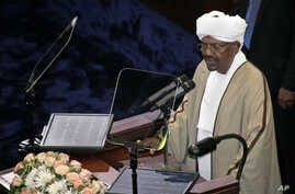Incumbent President Omar al-Bashir, who was recently re-elected in a landslide that extended his 25-year-old rule, speaks after being sworn in at the Sudanese National Assembly in Khartoum, Sudan, June 2, 2015.