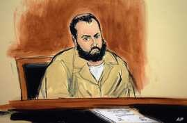 File - In this artist's drawing, Ahmad Khan Rahimi appears in a New York courtroom to face federal terrorism charges, Thursday, November  10, 2016. The Afghanistan-born U.S. citizen faces additional charges, filed Wednesday, November 16, 2016, for de