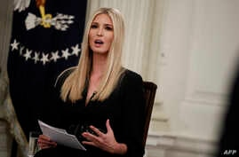 """FILE - Ivanka Trump speaks during the """"Our Pledge to America's Workers"""" event with her father President Donald Trump in the State Dining Room of the White House."""