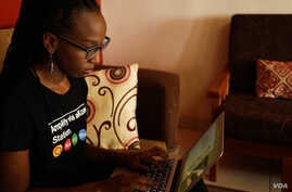 Gloria Iribagiza lives in Kigali, Rwanda, and works as a blogger and writes on development issues. (C. Oduah for VOA)