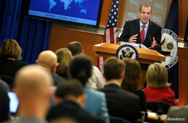 Acting State Department Spokesperson Mark Toner speaks during a news briefing at the State Department in Washington, D.C., March 7, 2017.