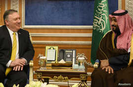 U.S. Secretary of State Mike Pompeo (L) meets with Saudi Crown Prince Mohammed bin Salman in Riyadh, Saudi Arabia, Jan. 14, 2019.
