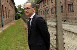 German Foreign Minister Heiko Maas visits the former German Nazi Death Camp Auschwitz Birkenau in Oswiecim, Poland, Aug. 20, 2018.