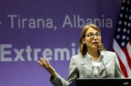 U.S. Under Secretary of State for Civilian Security, Democracy and Human Rights Sarah Sewall speaks at a news conference in Albania's capital Tirana, May 19, 2015.