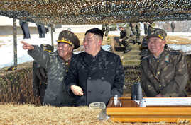 Photo taken by North Korea's official Korean Central News Agency on March 20, 2013 shows North Korean leader Kim Jong Un (C) inspecting a live fire drill using self-propelled drones at an undisclosed location in North Korea.