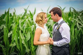 After Michelle Osten and Cody Bakken married on a Minnesota farm, she took his surname. (Megan Sugden Photography)