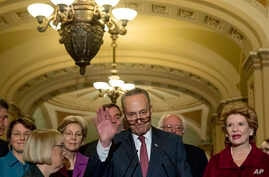 Sen. Chuck Schumer, D-N.Y., center, accompanied by fellow Senate Democrats, speaks to reporters on Capitol Hill in Washington after being chosen Senate minority leader for the 115th Congress, Nov. 16, 2016.
