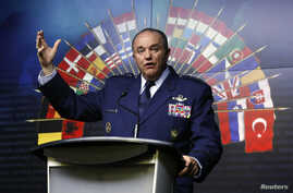 FILE - NATO Supreme Allied Commander Europe, U.S. General Philip Breedlove speaks during a news conference in Ottawa, Canada, May 6, 2014.