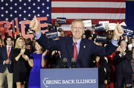 Republican gubernatorial candidate Bruce Rauner of Illinois celebrates his win over Democratic Gov. Pat Quinn, in Chicago, Nov. 4, 2014.
