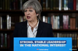 Britain's Prime Minister Theresa May delivers a campaign speech in central London, Britain, June 5, 2017.