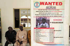Wanted sign for Boko Haram leader Abubakar Shekau pasted on a wall in Baga village on the outskirts of Maiduguri, northeastern state of Borno, Nigeria, May 13, 2013.