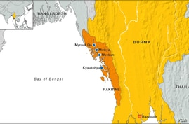 Burma map, state of Rakhine