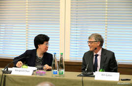 Bill Gates, co-founder of the Bill & Melinda Gates Foundation, and World Health Organization(WHO) Director-General Margaret Chan speak during a news conference on Neglected Tropical Diseases (NTDs) in Geneva, Switzerland, April 18, 2017.