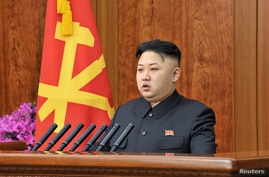 North Korean leader Kim Jong Un delivers a New Year address in Pyongyang in this picture released by the North's official KCNA news agency on January 1, 2013.