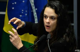 Brazilian jurist Janaina Paschoal, co-author of the complaint against suspended president Dilma Rousseff, speaks during the Senate's debate impeachment trial against Rousseff at the National Congress in Brasilia, Aug, 30, 2016.