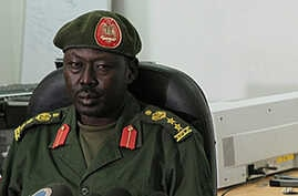 SPLA spokesman Philip Aguer, shown here at a briefing in March 2012, says South Sudanese Army soldiers have killed more than two dozen members of David Yau Yau's rebel group. (AP)