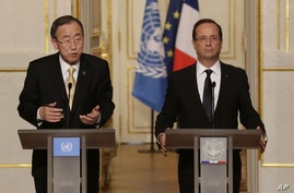 United Nations Secretary General Ban Ki-moon, left, and France's President Francois Hollande, speak to the media during a joint press conference at the Elysee Palace in Paris, Oct. 9, 2012.