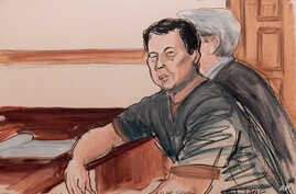 In this courtroom sketch, defendant Ng Lap Seng is seated in court at the defense table with his attorney during his arraignment on bribery charges in New York, Oct. 6, 2015.