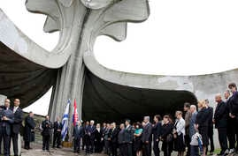 FILE - A ceremony is held at the site of Croatia's notorious WWII-era extermination camp in Jasenovac, Croatia, July, 25, 2010.