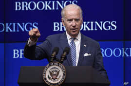 "U.S. Vice President Joe Biden, speaking about the conflict in Ukraine at the Brookings Institution in Washington, says ""Russia is taking steps to undermine its European neighbors and strengthen its hegemonic position,"" May 27, 2015."