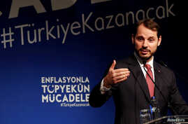 Turkish Finance Minister Berat Albayrak speaks during an event to announce his program to fight inflation, in Istanbul, Oct. 9, 2018.