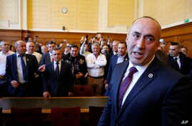 FILE - Ramush Haradinaj, a former Kosovo prime minister, appears in court in Colmar, eastern France, March 2, 2017. A French court refuses Thursday to extradite Haradinaj to Serbia to face war crimes charges.