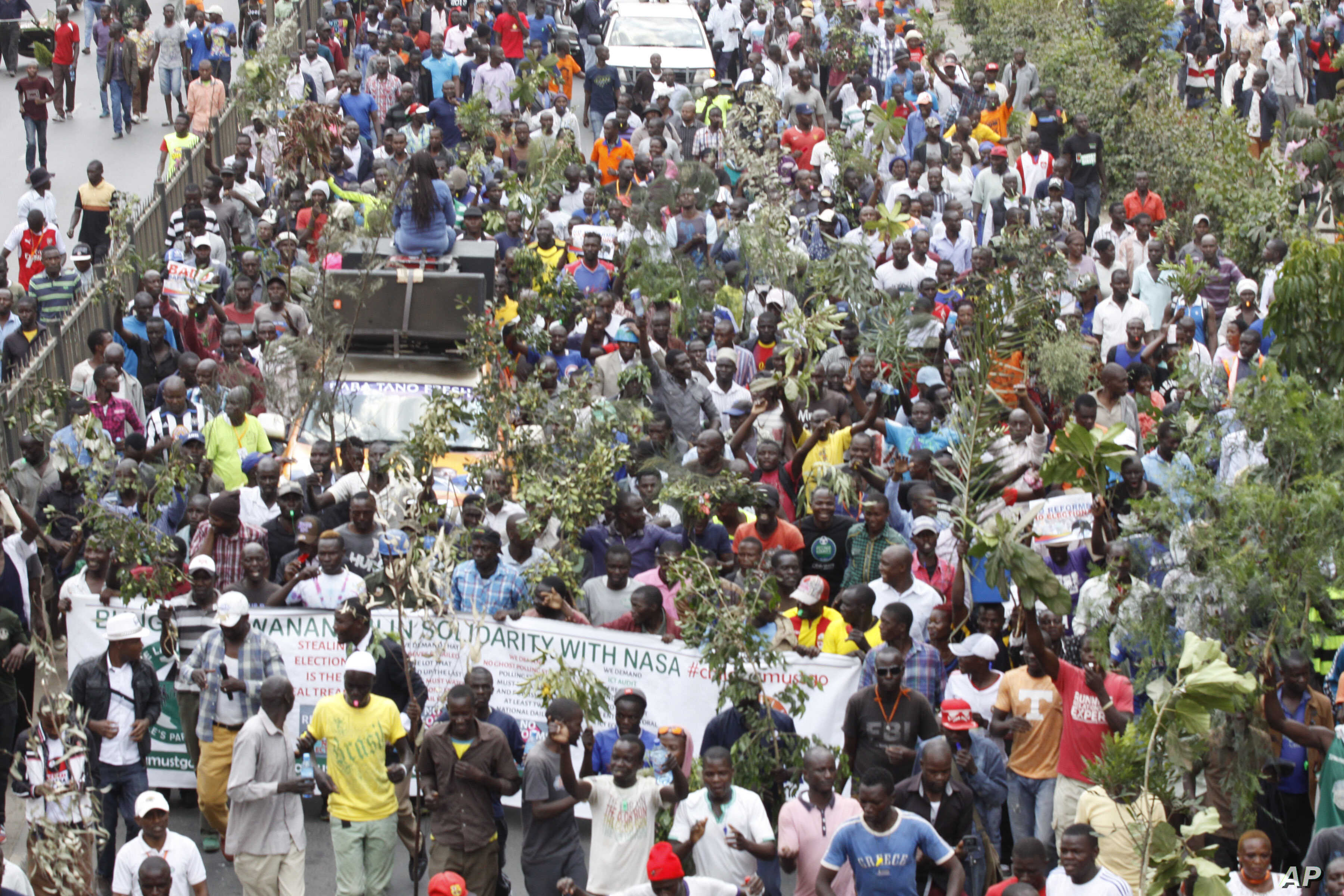 Opposition Supporters demonstrate against the Independent Electoral and Boundaries Commission (IEBC) in Nairobi, Kenya, Wednesday, Oct. 11, 2017.