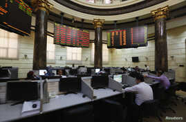 Traders work at the Egyptian stock exchange in Cairo August 18, 2013.