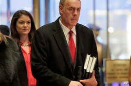 Interior Secretary-designate, Rep. Ryan Zinke, R-Mont., arrives at Trump Tower in New York,  Dec. 12, 2016.