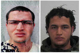 Anis Amri is shown in handout pictures from the German Bundeskriminalamt Federal Crime Office. Amri is suspected in Monday's truck attack on a Christmas market in Berlin.