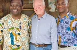 Former U.S. President and Founder of The Carter Center Jimmy Carter,  Carter Center Vice President of Health Programs, Dr. Donald Hopkins (right) and Guinea worm partner, former Nigerian Head of State General Yakubu Gowon.