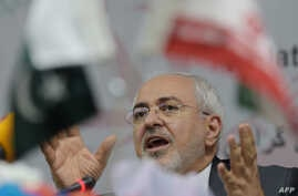 Iranian Foreign Minister Mohammad Javad Zarif speaks during an event in Islamabad, Pakistan, March 12, 2018.
